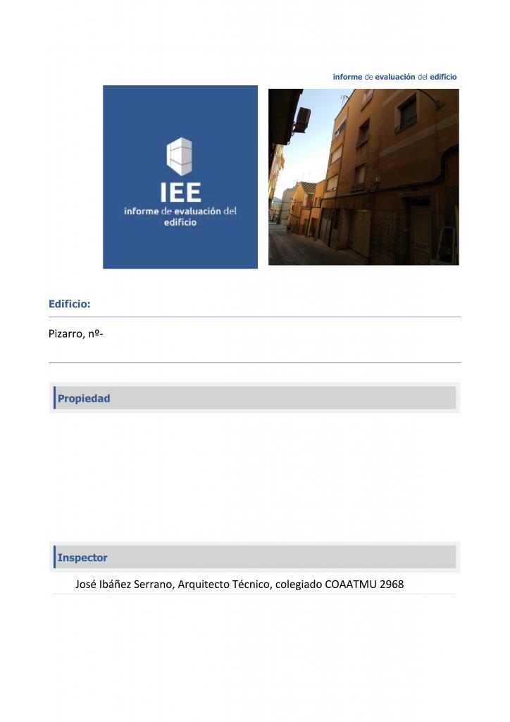 Informe de Evaluación de Edificios en zona de la Horma del Niño, Yecla.