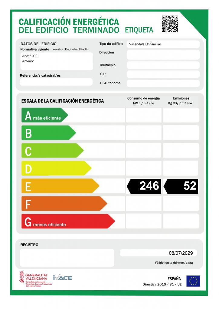 Certificaciones Energéticas, realización de más de 50 en viviendas en las provincias de Alicante, Murcia y Albacete.